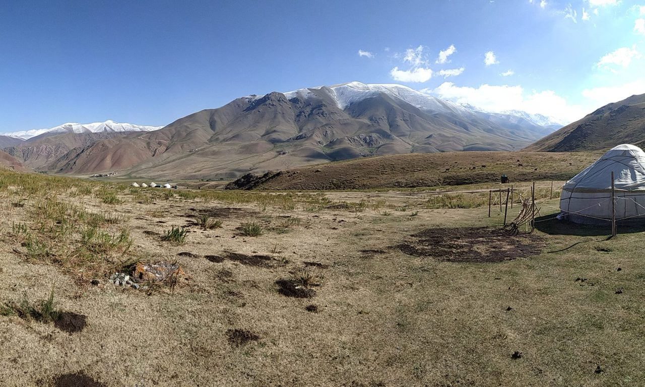 panorama of the landscape near our yurts in Kimeleche